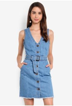 53e58f905 MISSGUIDED blue Stonewash Belted Button Denim Mini Dress 84A46AA002BA39GS_1