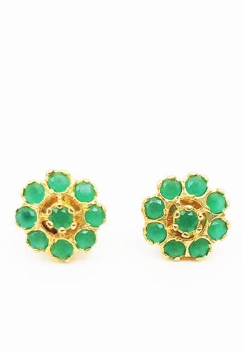 San Marco green and gold Emerald  Studs  Earring Gold E5038ACFF4FEB1GS_1