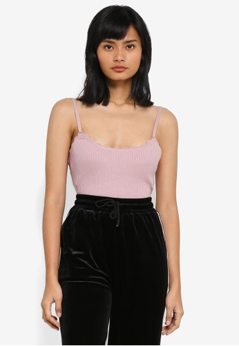 Something Borrowed pink Scallop Cami Rib Top 3DF3CAAF5E117BGS_1