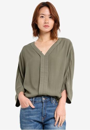 ZALORA green Dolman Sleeve Blouse DD559AABC40B14GS_1