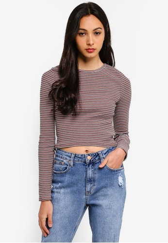 Supre multi Long Sleeve Rib Crew Neck Crop Top F27B0AA0598833GS_1