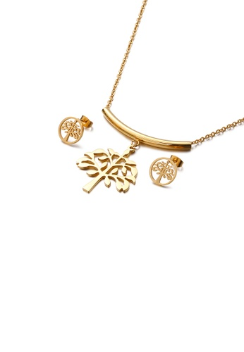 Glamorousky silver Fashion and Elegant Plated Gold Tree Of Life 316L Stainless Steel Necklace and Stud Earring Set 1B06AAC908CC57GS_1