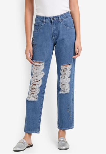 Buy Something Borrowed Stud Detail Boyfriend Jeans Online | ZALORA Malaysia