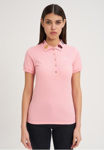 Jeremy Meeks pink Women Slim Fit Short Sleeve Polo Pink CD3C3AA9DAA614GS_1