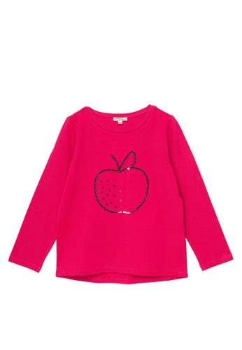 Du Pareil Au Même (DPAM) red Sequin Graphic Long Sleeve T-shirt A1197KA6CF0F81GS_1
