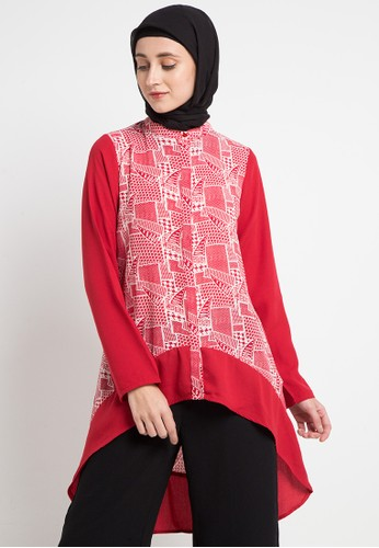 AZZAR red and multi Charien Assymetrical Long Top 5C0F6AA50D9776GS_1