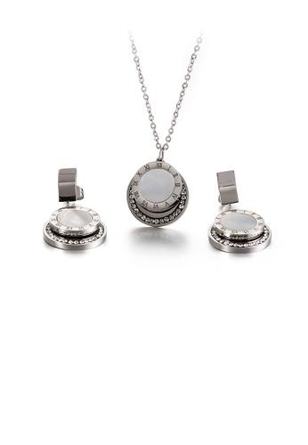 Glamorousky 白色 時尚簡約羅馬數字幾何圓形316L鋼項鏈和耳環套裝 32ECDACC6D4DEAGS_1