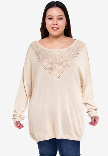 Only CARMAKOMA beige Plus Size Kath Long Sleeve Pullover 0791DAA18BEA8BGS_1