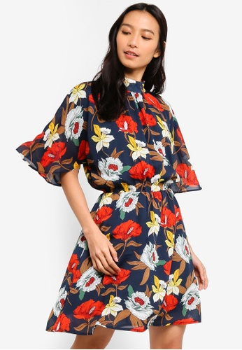 ZALORA multi and navy High Neck Fit And Flare Dress 07BD7AAFCEEFEDGS_1