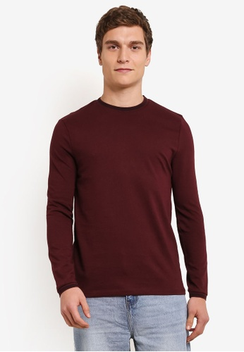 Topman red Long Sleeve Burgundy Tipped Ringer T-Shirt TO413AA0SAF5MY_1