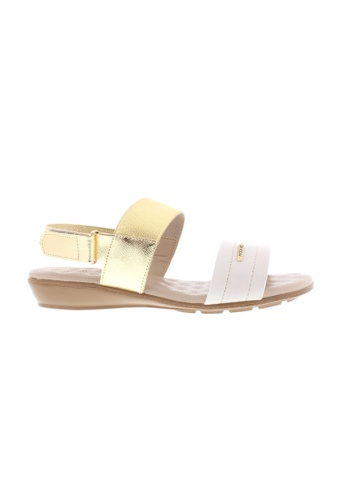 Beira Rio white and gold Double Strap Formal Flat Sandals BE995SH62ZUVHK_1