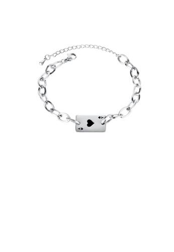 Glamorousky silver Fashion Creative Black Heart A Poker Card 316L Stainless Steel Bracelet A9566ACC4B7C0AGS_1