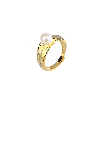 Glamorousky white 925 Sterling Silver Plated Gold Bump Geometric Freshwater Pearl Adjustable Ring E89B2ACE5E846EGS_1
