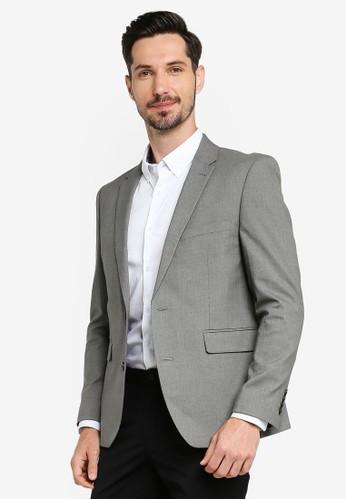 Burton Menswear London grey Skinny Fit Stretch Grey Suit Jacket BE148AA7A4E53BGS_1