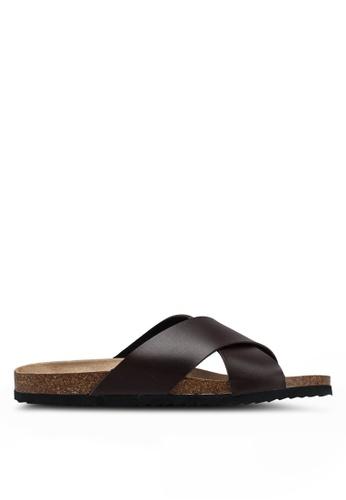 Brave Soul brown Dawson Cork Sandals with Cross Straps 11710SHA356FD8GS_1