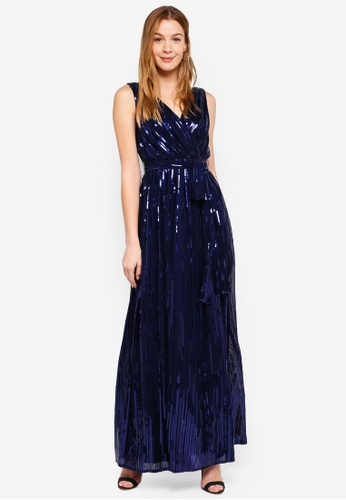 acf61847c6e Goddiva navy Sequined Chiffon Maxi Dress With Belt 36050AA66B8373GS 1