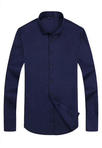 Trendyshop 藍色 日糸純色修身恤衫 C9F17AAD2C50A0GS_1