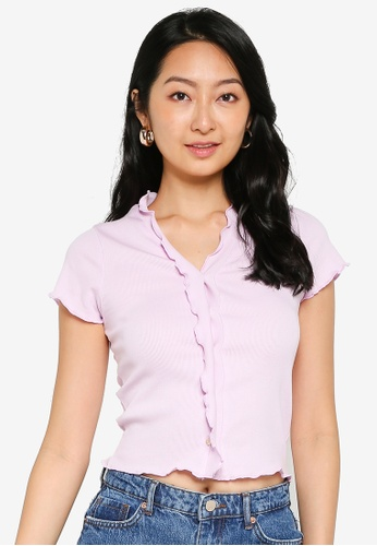 UniqTee purple Ribbed Crop Top with Ruffles 1F5F7AAB0EA208GS_1