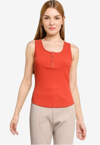 LOWRYS FARM orange Ribbed Collar Buttoned Tank Top 9F795AA8384206GS_1