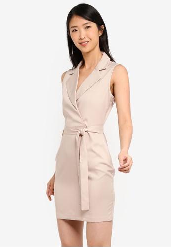 ZALORA BASICS beige Basic Formal Lapel Dress 8F502AA11BA304GS_1