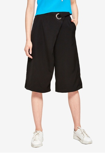 Hopeshow black O-Ring Belted Culottes 13E3DAA68FCF49GS_1
