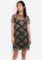 ZALORA black and gold Placement Lace Sheer Sleeve Shift Dress 056EAAA6DE2C9CGS_1