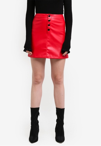 Mango red Contrast Buttons Skirt MA193AA0RK8QMY_1