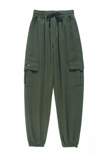 Zafiti green Women's Drawstring Waist Ankles-tied Cotton Cargo Pant - Green 3FD2AAAF4B855DGS_1