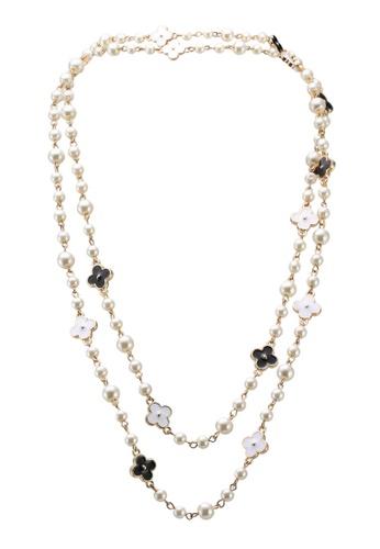 Red's Revenge white White & Black Quattro Flower Pearl Long Necklace 93CB8ACC0D5347GS_1