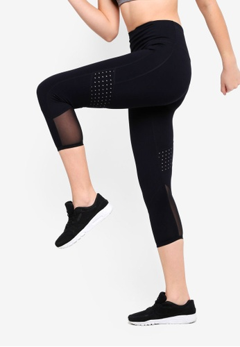 Cotton On Body black Tempo Mesh Panelled Crop Tights FE295AAEECDF27GS_1