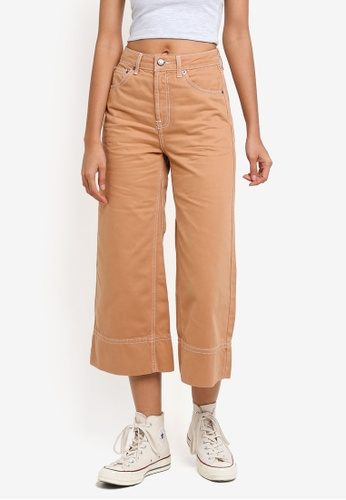 TOPSHOP brown Moto Tobacco Cropped Wide Leg Jeans 0DEE8AAB46DCF7GS_1