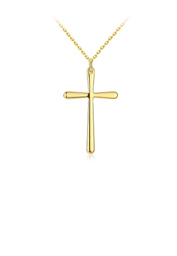 Glamorousky silver Fashion Simple Plated Gold Cross Pendant with Necklace 958A9AC56096D9GS_1