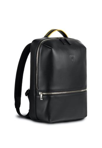 Lamborghini black Automobili Lamborghini® Pure Black Backpack Calf Leather Backpack Made in Italy 41419ACDC325EEGS_1