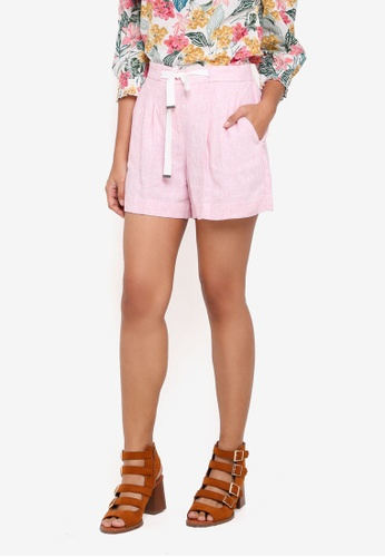 Dorothy Perkins pink Pink Stripe Chambray Shorts 707C1AA4C492B8GS_1