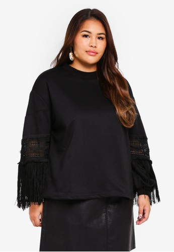 LOST INK PLUS black Plus Size Swing Top With Dobby Teirs 6A6B0AA53FA895GS_1