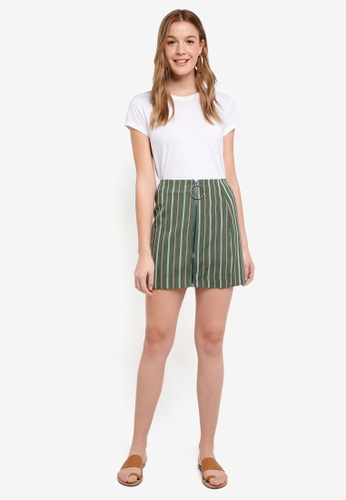 The Fifth Label green Axial Stripe Skirt 30BD0AAFDF8737GS_1
