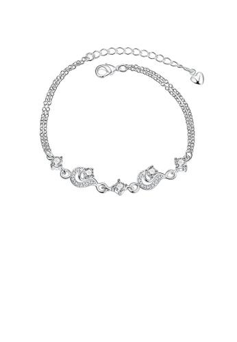 Glamorousky white Elegant Geometric Bracelet with Austrian Element Crystal 4E4DBACF504107GS_1
