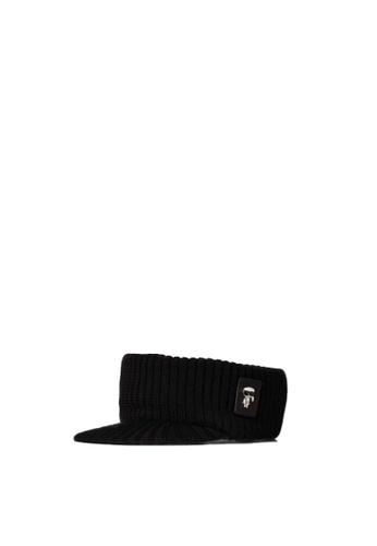 KARL LAGERFELD black K/Ikonik 3d Pin Knit Visor 00DD8AC3F6F82BGS_1