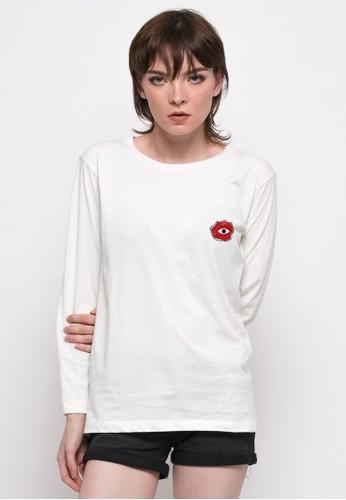 Monstore white Rose Eye Patch Long Sleeve Tee MO393AA94OSVID_1