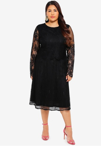 LOST INK PLUS black Plus Size Dress With Scallop And Lace 2A15AAA63F0096GS_1