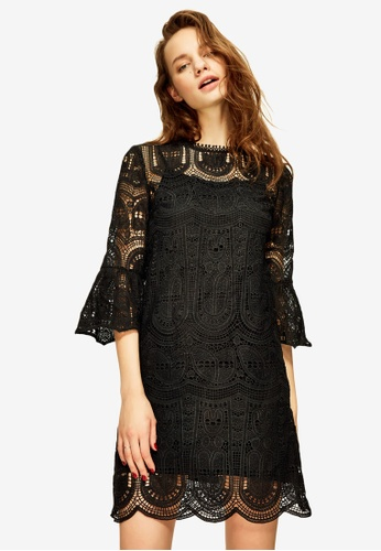 Hopeshow black Lace Shift Mini Dress 3346EAA7EFEE9CGS_1