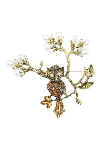 Red's Revenge gold Owl Branch Diamante Brooch 47EA2AC6E24198GS_1
