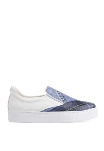 SPUR white Denim Pattern Slip-on SP642SH46GDHHK_1