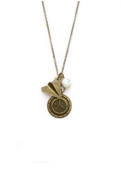 Compass and Paper Plane Necklace
