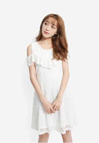 YOCO white Cold Shoulder Lace Dress 78248AA6017061GS_1