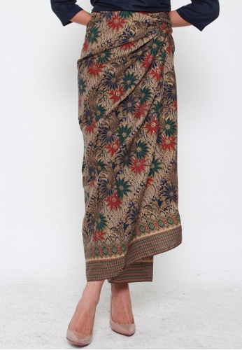 Naphthys Collection red and green and blue and multi and beige and navy Batik Skirt/Sarong 38B12AA340FD1DGS_1