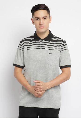 Arnett grey Arnett Baju Pria Polo Shirt Garis Abu Hitam A98DEAA7A05278GS_1