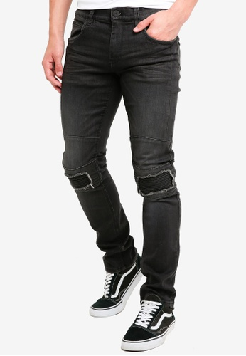 Indicode Jeans 黑色 緊身刷破牛仔褲 39AC9AAA8BD8DCGS_1