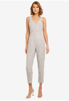 a9c6e1a621 Miss Selfridge grey Grey Embroidered Tapered Leg Jumpsuit 74DFCAAB306548GS 1