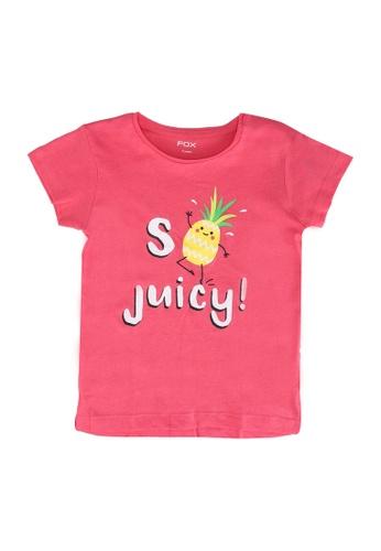 FOX Kids & Baby pink Crop Sleeve Tee DC8F0KA0F2DB85GS_1